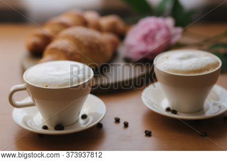 Vegan Breakfast At Home. Cappuccino With Coconut Milk And Two Empty Vegan Croissants. Morning With C