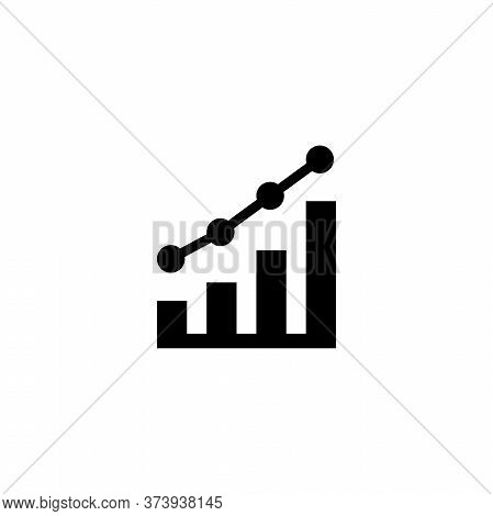 Growing Graph, Growth Diagram, Profit. Flat Vector Icon Illustration. Simple Black Symbol On White B