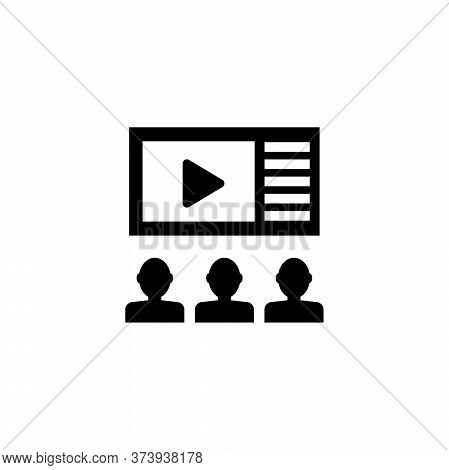 People Watching Movie, Cinema Theater. Flat Vector Icon Illustration. Simple Black Symbol On White B