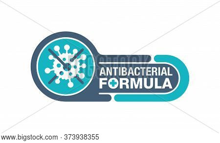 Antibacterial Formula Stamp - Crossed Out Bacterial Virus - Vector Isolated Sign For Antibiotics Ant