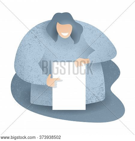 Checklist Illustration - Absctact Big Woman Holding Blank White Paper (test, Questionnaire, Planning