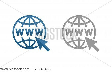 Www Icon - Internet Domain With Globe Silhouette And Mouse Cursor - Isolated Vector Sign For Website