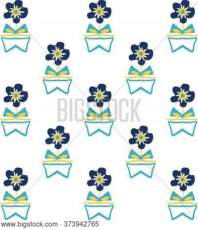 Modern Forget-me-not Flowers In Aztec Style Pots. Seamless Vector Pattern Background. Hand Drawn Blu