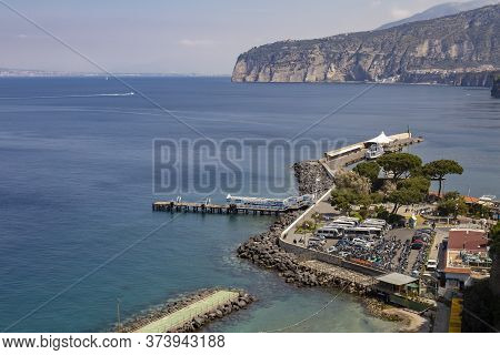 Sorrento, Italy - April 11, 2017: View Of The Picturesque Coast Of The Gulf Of Naples Coast Of Sorre