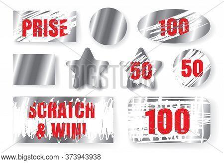 Scratch Cards, Scraped Lottery Winning Tickets, Silver Win Cards
