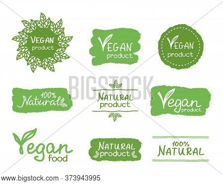 Vegan And Natural Product Hand Lettering. Set Of Signs, Icons, Emblems And Labels For Natural Produc