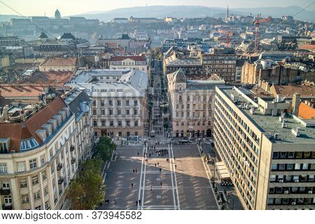 Beautiful aerial view above the square before St. Stephen's Basilica in Budapest, Hungary with historical part of old city.