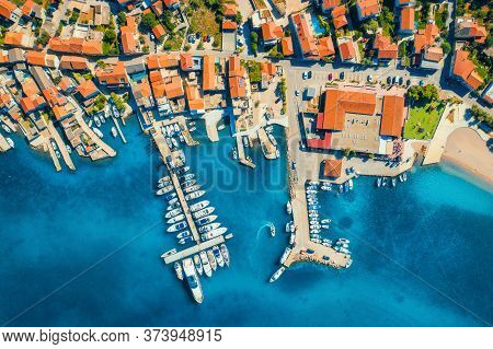 Aerial View Of Boats And Yachts In Port In Beautiful Old City At Sunset In Croatia In Summer. Landsc