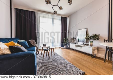 Living room in a modern apartment for rent. Interior design