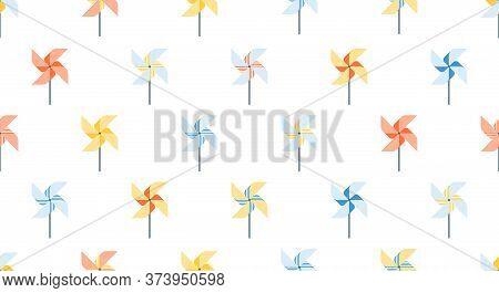 Seamless Pattern Of Pinwheel, Background For Kids Products, Happy Childhood