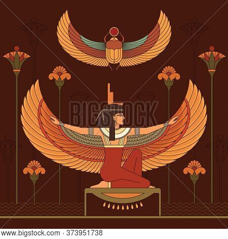 Animation Portrait Of The Beautiful Egyptian Woman. The Egyptian Goddess Isis And Set Of Egypt Hiero