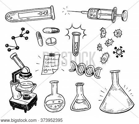 Biotechnology Doodles. Scientific Doodle Style Icons Set. Logos For Pharmacy, Science, Medicine, Tec