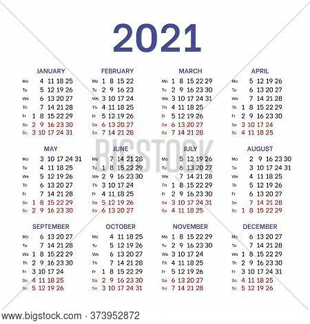 Simple Classic Calendar Layout For 2021 Year. English Square Template With Basic Grid On White Backg