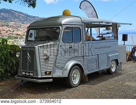 Funchal, Madeira, Portugal - June 30, 2019:  Classic Citroën Van Being Used As A Cafe In The Park Fu