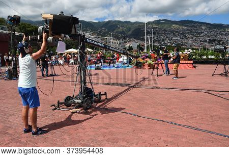 Funchal, Madeira, Portugal - July 01, 2019: Large Boom Arm Being Used For Tv Filming Of Group Perfor