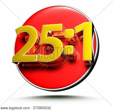 3d Illustration 25 Parts Per 1 Isolated On A White Background.(with Clipping Path)