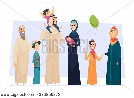 Arabic Family. Male And Female Muslim Happy Persons Father Mother Kids And Elders Seniors Vector Sau