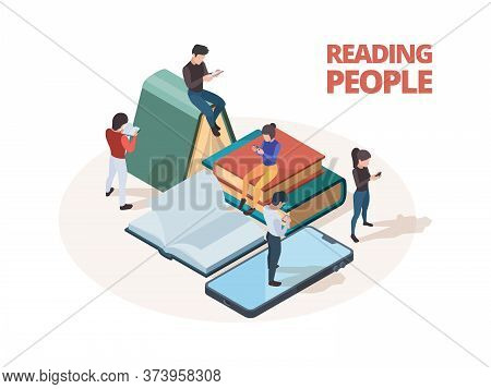 Reading People. Study Persons With Books Newspapers And Smartphones Reading In Library Vector Isomet