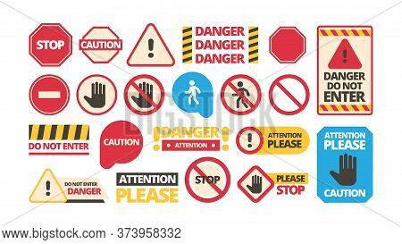 Attention Boards. Admittance Symbols Stop Hand Red Framed Attention Forbidden Vector Signs. Danger A