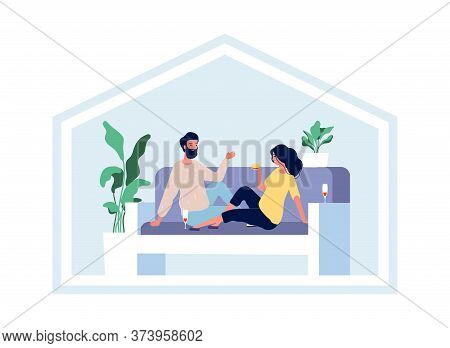 Happy Couple Stay Home. Domestic Lifestyle, Isolation Period Together. Hygge Life, Man Woman On Sofa
