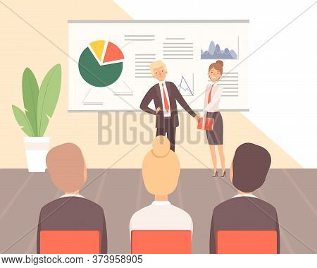 Business Training. Guest Lecturer, Corporate Training Or Seminar On Finance And Management Vector Il