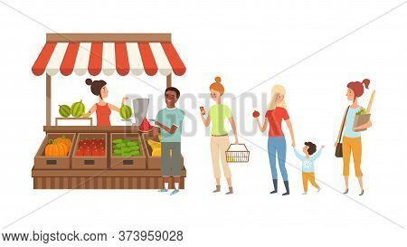 People Queue To Street Counter. Kiosk With Fresh Fruits And Vegetables, Harvest Season Vector Illust