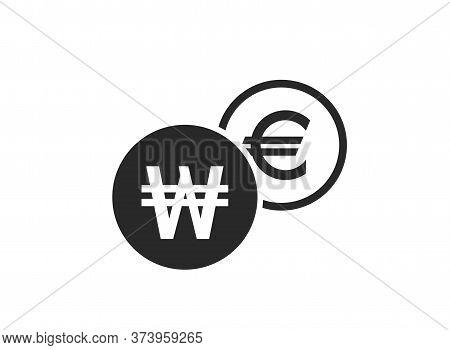Korean Won To Dollar Currency Exchange Icon. Money Exchange And Banking Transfer Symbol