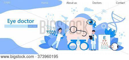 Eye Doctor Concept Vector. Glaucoma Treatment Concept Vector. Medical Ophthalmologist Eyesight Check