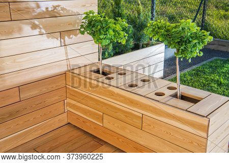 Contemporary Cozy Backyard Patio Area With Grass Small Trees And Woden Decking.