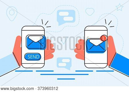 Alert Message Mobile Notification Concept. Hand Is Holding Smartphone With Email Notification On Scr