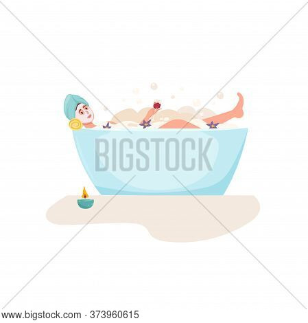 Girl Relaxing In A Bath. Time To Yourself And Take Care Of Yourself. Healthcare, Skincare, Spa, Beau
