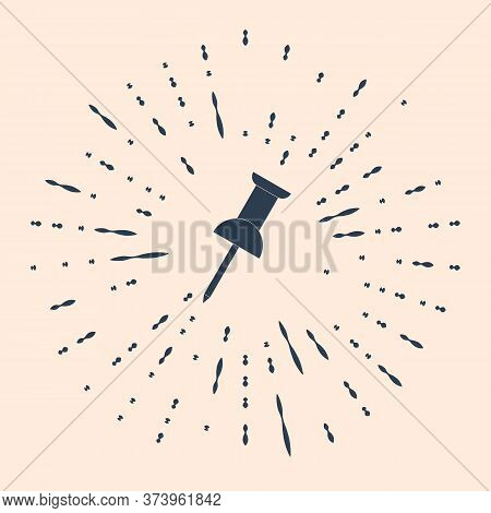 Black Push Pin Icon Isolated On Beige Background. Thumbtacks Sign. Abstract Circle Random Dots. Vect