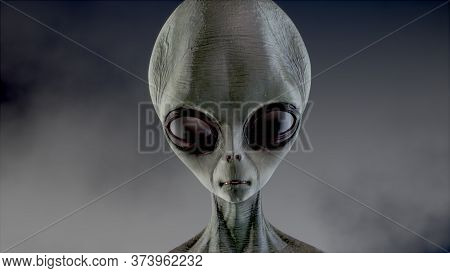 Scary Gray Alien Walks And Looks Blinking On A Dark Smoky Background. Ufo Futuristic Concept. 3d Ren