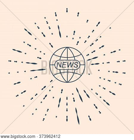 Black World And Global News Concept Icon Isolated On Beige Background. World Globe Symbol. News Sign