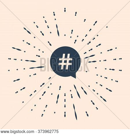 Black Hashtag In Circle Icon Isolated On Beige Background. Social Media Symbol, Concept Of Number Si