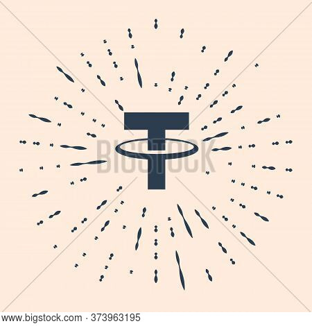 Black Cryptocurrency Coin Tether Usdt Icon Isolated On Beige Background. Physical Bit Coin. Digital