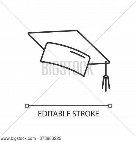 Graduation Cap Linear Icon. College Mortarboard. University Graduate. Knowledge And Wisdom. Thin Lin