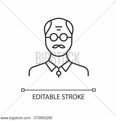 Senior Man Linear Icon. Male Elder. Old Person. Grandfather With Mustache. Middle Age Man. Thin Line