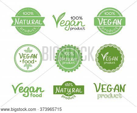 Natural And Vegan Product Hand Lettering. Set Of Signs, Icons, Emblems And Labels For Natural Produc