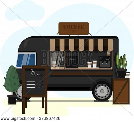 Street Van Selling Coffee. Flat Vector Illustration Of A Mobile Cafeteria With A Canopy, Billboard A