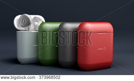 Different Color Wireless Headphones In Charge Box 3d Render Image