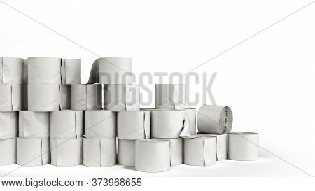Toilet Paper Rolls Wall 3d Render On A White Background