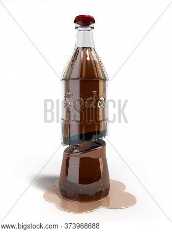 Cutaway Soda Bottle 3d Render On White