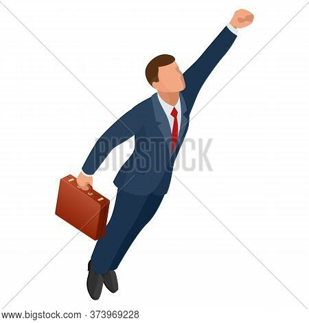 Isometric Businessman Isolated On Write. Start Up Business, Innovation, Technology, Start Button , T
