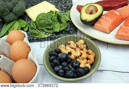Keto Ketogenic Low Carb Atkins Paleo Style Diet Protein Based Meat Fish Dairy Cheese Eggs Veg Berrie