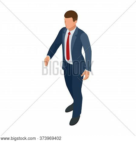 Isometric Businessman Isolated On Write. Creating An Office Worker Character, Cartoon People. Busine