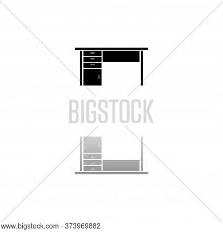 Office Desk. Black Symbol On White Background. Simple Illustration. Flat Vector Icon. Mirror Reflect