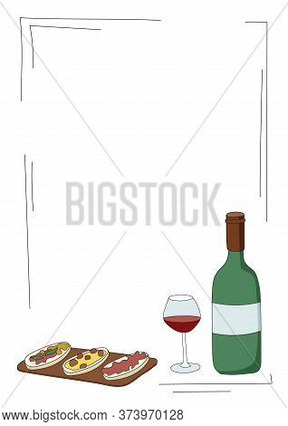 Doodle Cartoon Hipster Style Colored Vector Illustration. A Still Life Or Set With Bottle And Glass