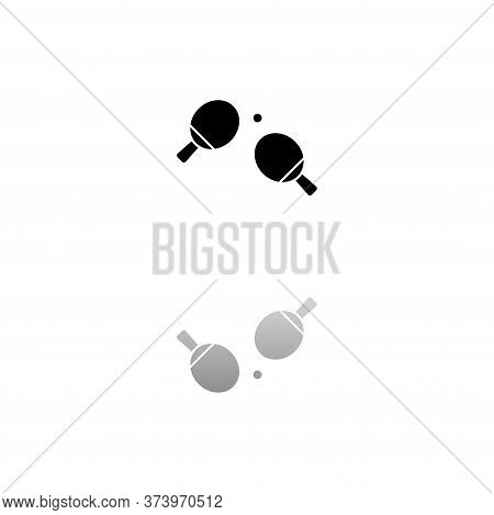 Ping Pong. Black Symbol On White Background. Simple Illustration. Flat Vector Icon. Mirror Reflectio