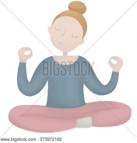 Girl In Yoga Pose. Lotus Asana. Anxiety Reduction Concept. Keep Calm And Mind Balance Concept. Inner